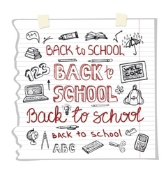 Back to school supplies letteringsketchy vector