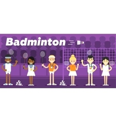 Badminton team on awarding some pedestal vector image vector image