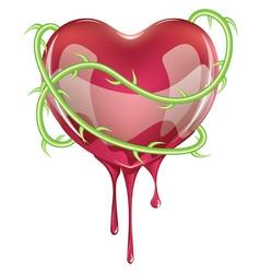 Bleeding red heart vector