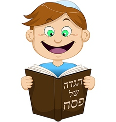 Boy Reading From Haggadah For Passover vector image vector image