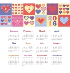 Calendar for 2016 with heart Week Starts Sunday vector image