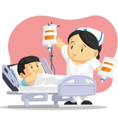Cartoon of nurse helping child patient vector