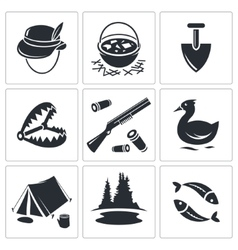 Color hunting and fishing icon collection vector