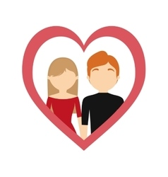 Couple love frame heart valentine day vector