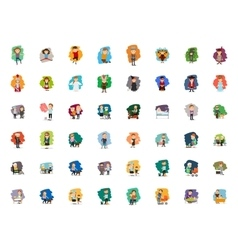 Different cartoon people characters big set vector image vector image