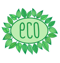 Eco sign in oval frame with leaves around vector
