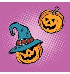 Evil halloween pumpkin hat pilgrim vector