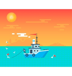Fishing boat sunset card vector