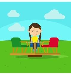 Girl on playground cartoon vector