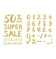 Gold glittering alphabet - numbers figures vector