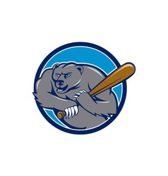 Grizzly bear baseball player batting circle vector