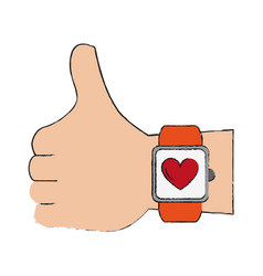 Hand with smartwatch heartbeat pulse vector