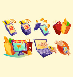 Isometric icons of mobile phones laptop vector