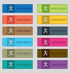 Karate kick icon sign set of twelve rectangular vector