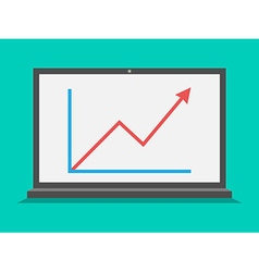 Laptop with growth graph vector