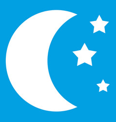 Moon and stars icon white vector