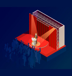 Music award winner announcement isometric poster vector