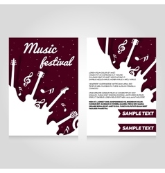 Music festival brochure flier design template vector image