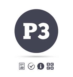 Parking third floor icon car parking p3 symbol vector
