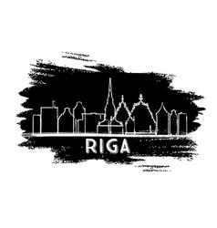 Riga latvia skyline silhouette hand drawn sketch vector