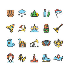russia travel and tourism color thin line icon set vector image vector image