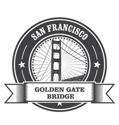 San francisco symbol - golden gate bridge stamp vector