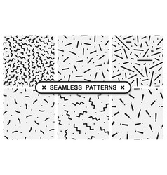 Seamless patterns set - memphis design vector