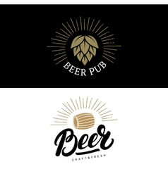 Set of beer hand written lettering logos labels vector image vector image