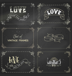 set of chalk vintage frames on blackboard vector image vector image