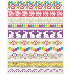 Set of lace paper with flower an easter eggs vector