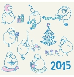 Set of sheeps vector image