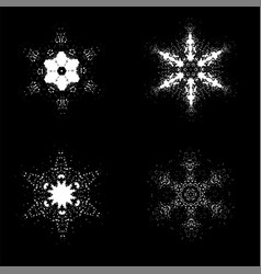 set of snowflakes isolated vector image
