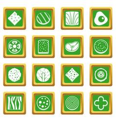 Slice food ingredient icons set green vector