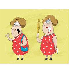 Two cartoons of standing mature woman vector