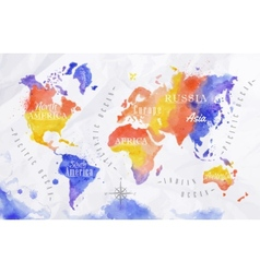 Watercolor world map red purple vector