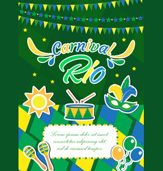 welcome brazil carnival poster invitation flyer vector image