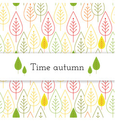 white paper stripe banner on autumn leaves vector image vector image