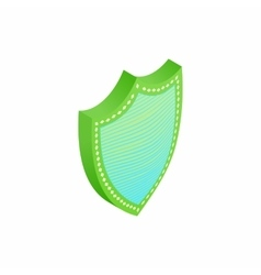 Green and blue shield icon isometric 3d style vector