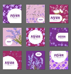 Collection of lilac red and pink flowers with vector