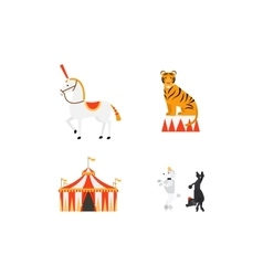 Circus flat icons set vector image