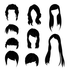 Hairstyle man and woman black1 vector