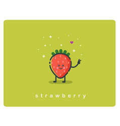Icon of strawberry fruit funny cartoon character vector