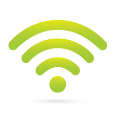 Green wifi icon wireless symbol on isolated vector
