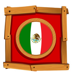 Mexico flag on round badge vector