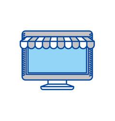 Blue contour of desktop computer online store vector