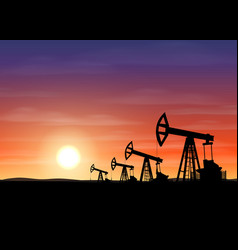 Petroleum rigs at sunset oil drill background vector