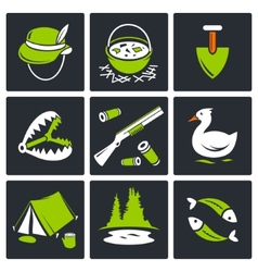 Color hunting and fishing icon set vector