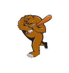 Grizzly bear baseball player batting cartoon vector