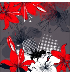 Background with red lily flowers vector