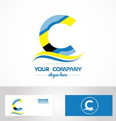 Blue yellow letter c logo icon vector